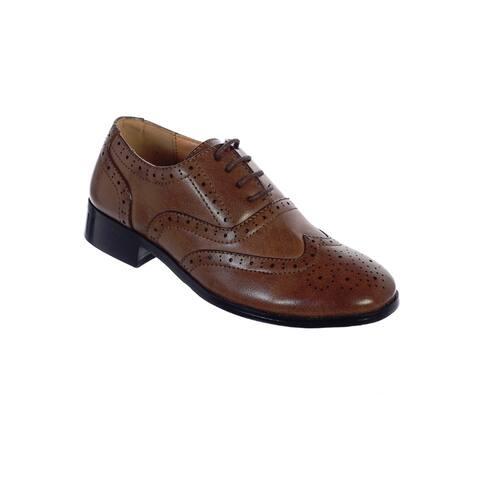Tip Top Kids Boys Brown Wingtip Oxford Shoes