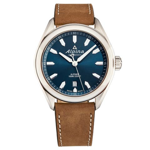 Alpina Men's AL-240NS4E6 'Alpiner' Blue Dial Brown Leather Strap Swiss Quartz Watch
