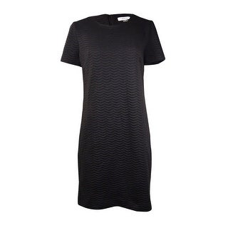 Calvin Klein Women's Textured Wave Knit Sheath Dress - Black