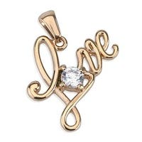 Love with Large Single Gem Rose Gold Stainless Steel Pendant (25 mm Width)