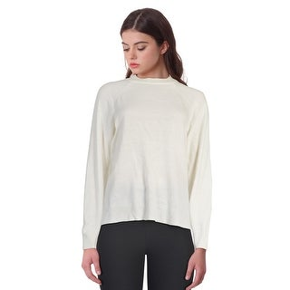 Karen Scott Long Sleeve Mockneck Sweater Top Luxsoft White