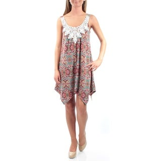 Womens Red Sleeveless Knee Length Trapeze Casual Dress Size: XS