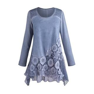 Women's Tunic Top - Moonlit Garden Blue Lace Blouse|https://ak1.ostkcdn.com/images/products/is/images/direct/f0e91b221307865f8d9a894770fa19a39fea00e6/Women%27s-Tunic-Top---Moonlit-Garden-Blue-Lace-Blouse.jpg?impolicy=medium