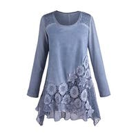 Women's Tunic Top - Moonlit Garden Blue Lace Blouse