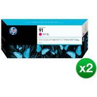 HP 91 775-ml Magenta DesignJet Pigment Ink Cartridge (C9468A) (2-Pack)