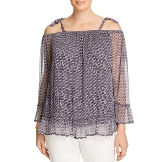 Lucky Brand Womens Casual Top Printed Off-The-Shoulder