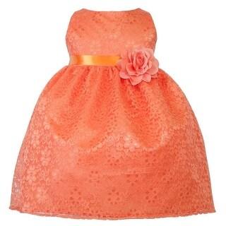 Baby Girls Orange Floral Lace T-Length Flower Girl Dress 6-24M