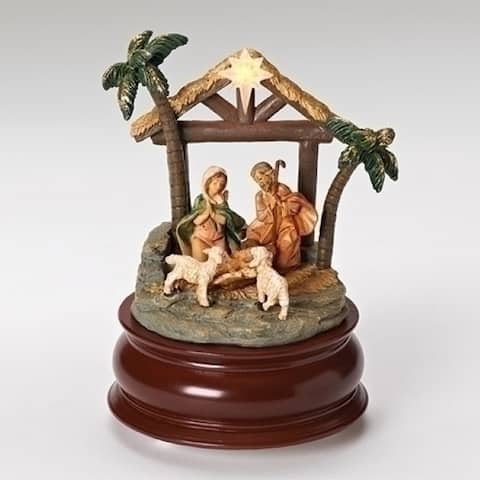 """6"""" Brown and Green LED Star Musical Nativity Christmas Decoration"""