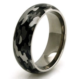 Titanium Green Camo Men's Wedding Band Anniversary Ring