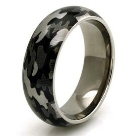 Titanium Green Camo Men's Wedding Band Anniversary Ring