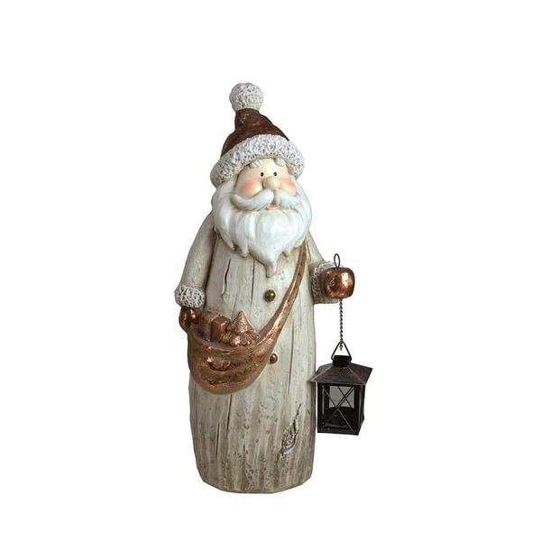 "19.75"" Weathered Santa with Tea Light Candle Lantern and Shoulder Bag Christmas Figure"