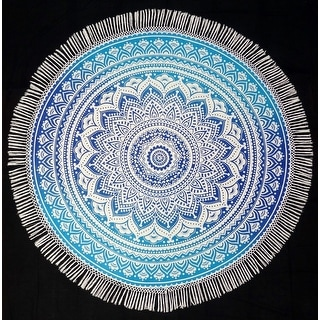 Handmade 100% Cotton Tie Dye Floral with Fringes Tablecloth 72 Inch Round Blue