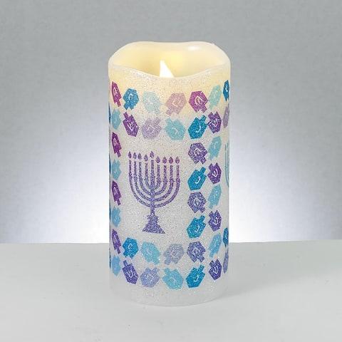 "6"" Purple and Blue Shimmering Menorah LED Flameless Hanukkah Candle"