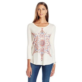 Lucky Brand Graphic 3/4 Sleeve Cotton Top Whisper White - L