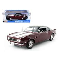 1968 Chevrolet Camaro Coupe Z/28 Maroon 1/18 Diecast Model Car by Maisto
