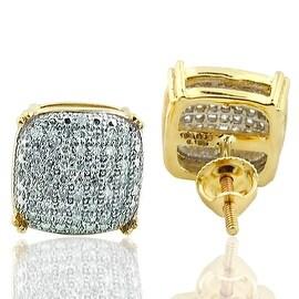 Diamond Fashion Earrings 9.5mm Wide 10k Gold 0.33ctw for Men of Women(i2/i3, I/j)