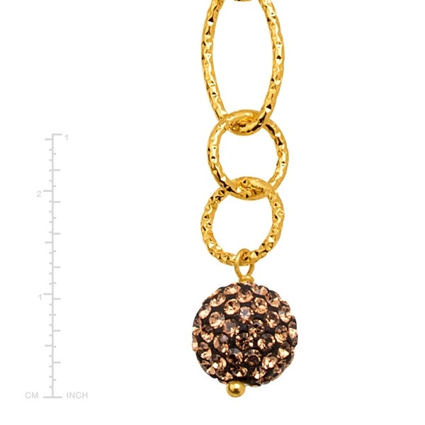 Crystaluxe Beaded Lariat Necklace with Brown Crystals in 18K Gold-Plated Bronze, 22 Inches