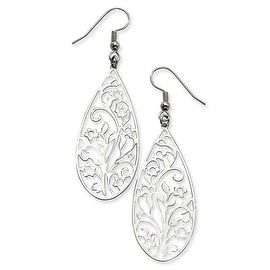 Chisel Stainless Steel Filigree Teardrop Wire Earrings