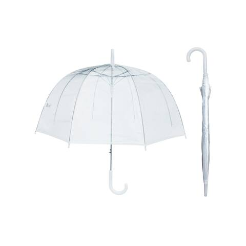 """Rainstoppers Unisex Adult White Clear Dome 46"""" Auto Open Hook Handle Umbrella - One Size"""