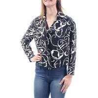 ANNE KLEIN Womens Black Printed Suit Wear To Work Jacket  Size: 8