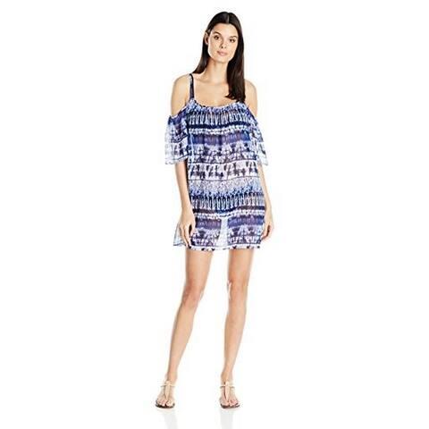 Bleu Rod Beattie Women's Get Wet Cold Shoulder Dress Cover-up, (Blue Small)