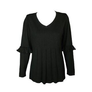 Style & Co Plus Size Black Heather Ruffled-Sleeve Pleated Sweater 1X