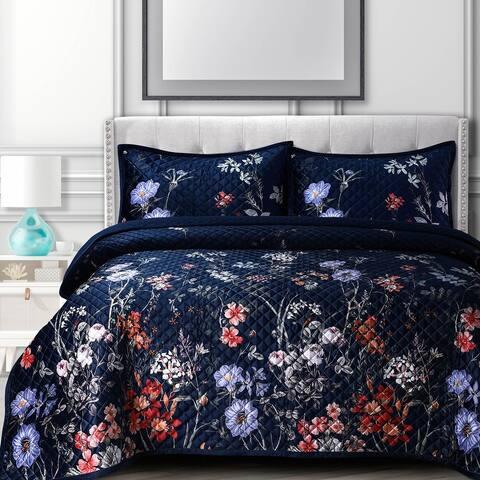 Velvet Printed Oversized Quilt Set