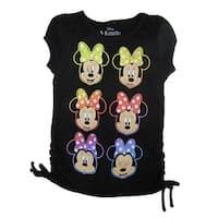 Disney Little Girls Black Multi Color Minnie Mouse Face Print T-Shirt