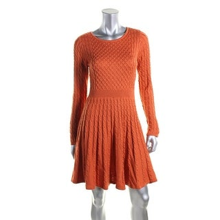 Calvin Klein Womens Fit & Flare Cable Knit Casual Dress