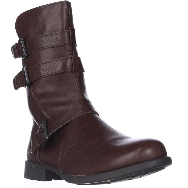 Born Buckley Buckle Strap Mid-Calf Boots - Dark Brown