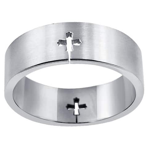 Cross Style Stainless Steel Band Rings by Orchid Jewelry