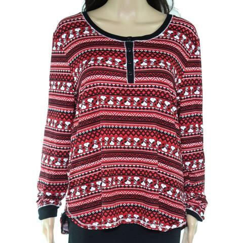 Peanuts Womens Sleepwear Red Size Medium M Sleepshirt Henley Snoopy