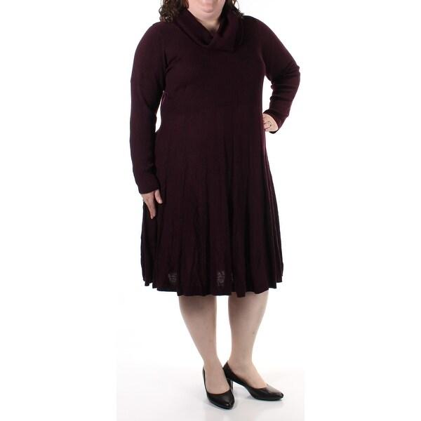 Cowl Neck Sheath Dresses: Shop CALVIN KLEIN Womens Burgundy Long Sleeve Cowl Neck