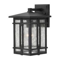"Hinkley Lighting 1960 1 Light 7"" Wide Lantern Dark Sky Wall Sconce with Clear Seedy Glass Shade from the Tucker Collection"