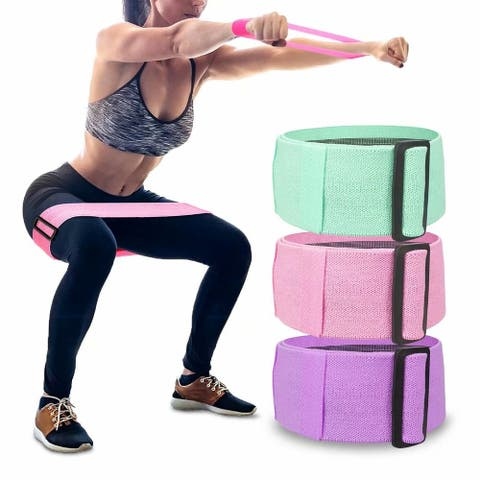 Adjustable Resistance Bands Set Strength Fitness Exercise Workout Booty Loop Band - Pink+Purple+Green