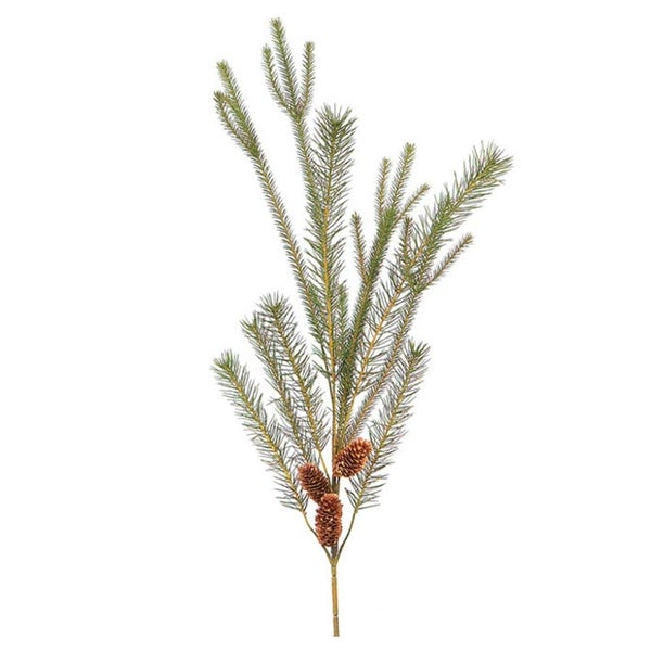 "30"" Glacier and Skyland Artificial Pine with Cone Christmas Spray - green"