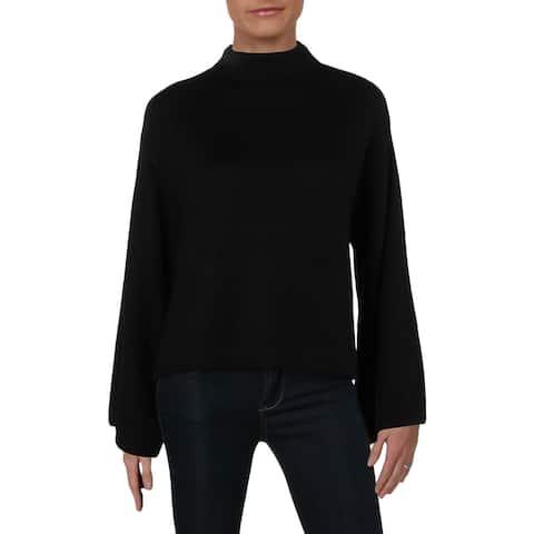 Anne Klein Womens Mock Turtleneck Sweater Wool Bell Sleeves