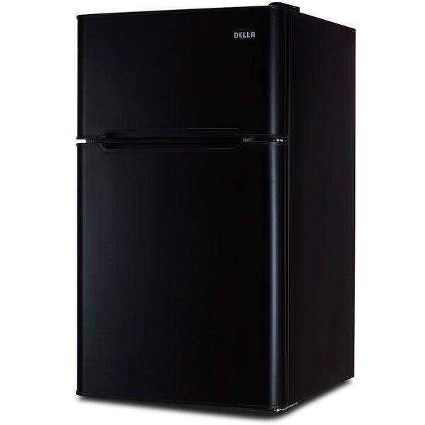 Della 3.2 cu. ft. 2-Door Compact Freestanding Beverages Refrigerator Fridge with Freezer, Black