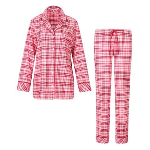 Richie House Women's Plaid Cotton Pajamas Sleepwear Set