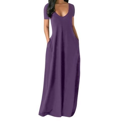 Deep V-Neck Women Dress Short Sleeve Thin Solid Color A-Line Maxi Dress Streetwear