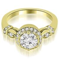 0.95 cttw. 14K Yellow Gold Antique Round Cut Diamond Engagement Ring