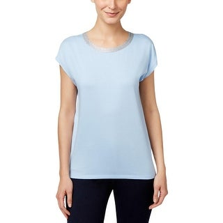 MICHAEL Michael Kors Womens Casual Top Metallic Trim Modal Blend
