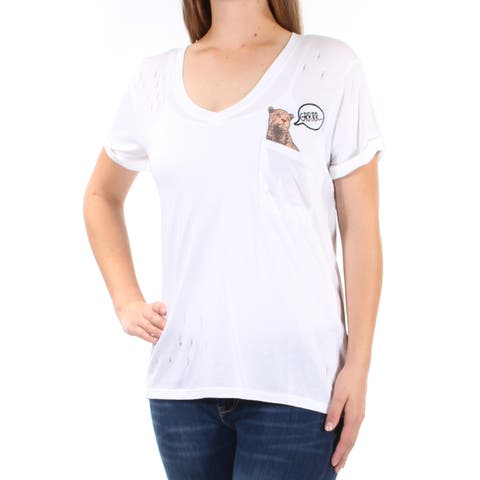 GUESS Womens White Pocketed Printed Short Sleeve V Neck TShirt Top Size: XL