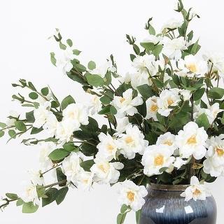 """FloralGoods Silk Flower Little White Rosa Stem 29"""" Tall"""