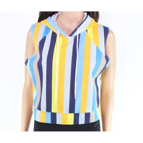 Material Girl Women's Striped Sleeveless Blue Size Large L Hoodie