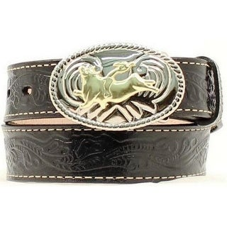 Nocona Western Belt Boys Kids Leather Bull Rider Black