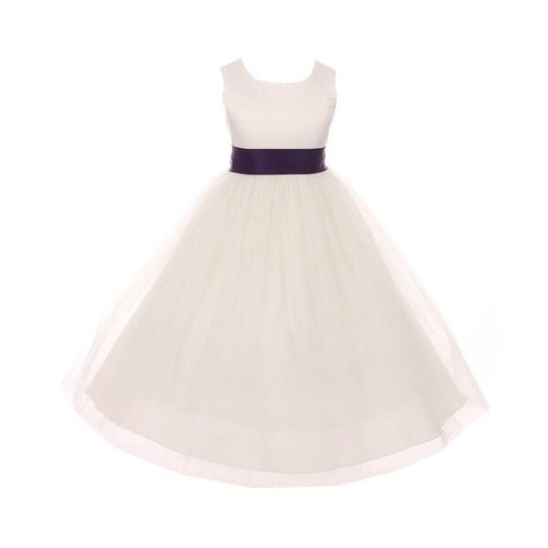 41c54f4d9 Shop Kids Dream Little Girls Ivory Eggplant Tulle Satin Sash Bow Flower  Girl Dress 6 - Free Shipping On Orders Over $45 - Overstock - 23085874