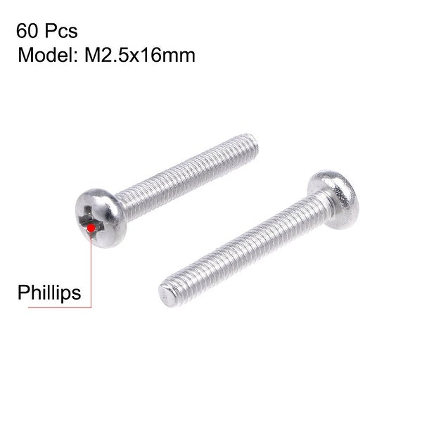 60Pcs M2.5 Stainless Steel Phillips Round Pan Head Machine Screws Long 3-25mm