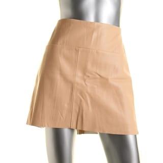 Zara Basic Womens Faux Leather Contrast Trim A-Line Skirt - L