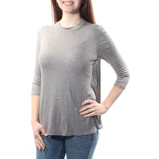 Womens Gray 3/4 Sleeve Turtle Neck Casual Top Size 2XS